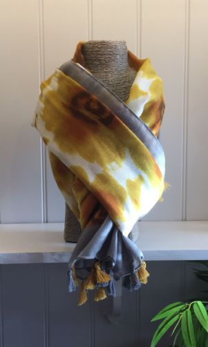 Flowers Print Scarf - Yellow and Grey Flowers & Grey Border